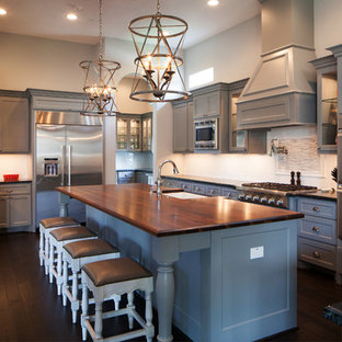Grey Cabinets And Dark Counters Houzz - Countertops for gray cabinets