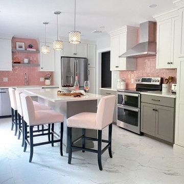 Pink Backsplash Kitchen in Wakefield MA
