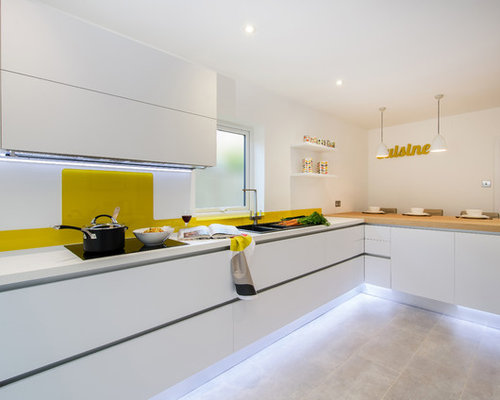 kitchen design ideas renovations photos with yellow splashback