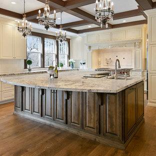 サンフランシスコの広いヴィクトリアン調のおしゃれなキッチン (アンダーカウンターシンク、レイズドパネル扉のキャビネット、白いキャビネット、御影石カウンター、白いキッチンパネル、石タイルのキッチンパネル、シルバーの調理設備、無垢フローリング、茶色い床、マルチカラーのキッチンカウンター) の写真