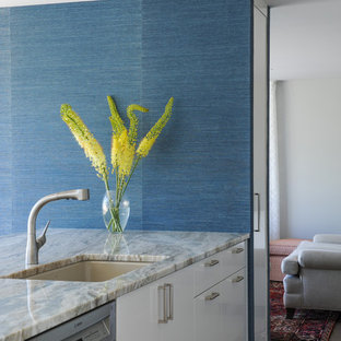 Medium sized contemporary galley kitchen/diner in Vancouver with a submerged sink, glass-front cabinets, white cabinets, granite worktops, blue splashback, glass sheet splashback, stainless steel appliances, cork flooring and a breakfast bar.