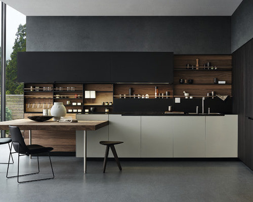 Contemporary Kitchen Remodeling   Trendy L Shaped Concrete Floor Kitchen  Photo In Sydney With Black Part 95