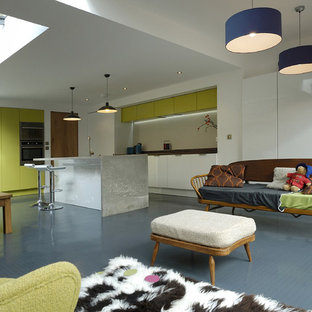 Modern open plan kitchen in London with concrete benchtops, green cabinets and flat-panel cabinets.