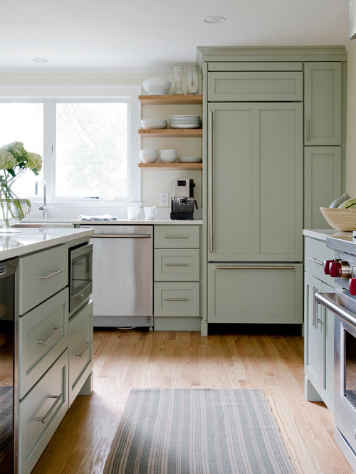 Nice Example Of A Classic Medium Tone Wood Floor Kitchen Design In Portland  Maine With A Farmhouse