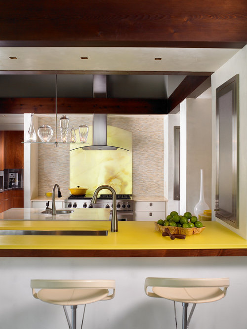 Contemporary Enclosed Kitchen Idea In Nashville With An Undermount Sink,  Flat Panel Cabinets,