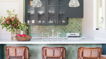 Pool House Small Green Kitchen with Barstools