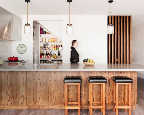 Inspiration For A Small Midcentury L Shaped Open Plan Kitchen In Melbourne  With An Island