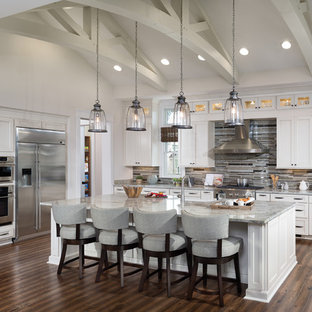 Latest Kitchen Trends Traditional L Shaped Medium Tone Wood Floor Idea In Tampa With Shaker