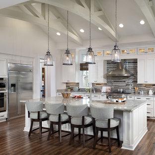 タンパのトラディショナルスタイルのおしゃれなキッチン (シェーカースタイル扉のキャビネット、白いキャビネット、御影石カウンター、マルチカラーのキッチンパネル、ボーダータイルのキッチンパネル、シルバーの調理設備の、無垢フローリング) の写真