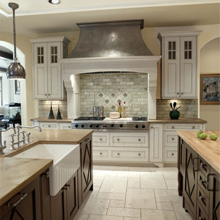 Traditional kitchen in Denver with a belfast sink and wood worktops.