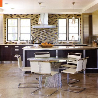 Eat-in kitchen - contemporary eat-in kitchen idea in Denver with multicolored backsplash