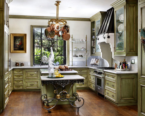 Distressed Green Kitchen Cabinets