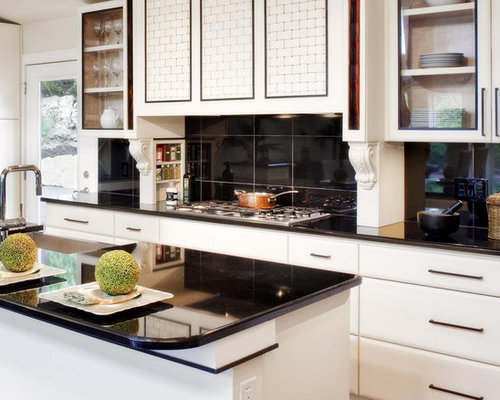 Best midcentury kitchen with onyx worktops design ideas for Black onyx kitchen cabinets