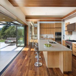 Immagine di una cucina moderna con lavello sottopiano, ante lisce, ante in legno scuro, paraspruzzi bianco, elettrodomestici in acciaio inossidabile, parquet scuro, isola e pavimento marrone