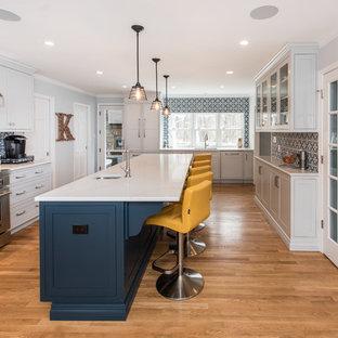 ワシントンD.C.の中サイズのシャビーシック調のおしゃれなキッチン (アンダーカウンターシンク、インセット扉のキャビネット、グレーのキャビネット、大理石カウンター、マルチカラーのキッチンパネル、セラミックタイルのキッチンパネル、シルバーの調理設備の、淡色無垢フローリング、茶色い床、グレーのキッチンカウンター) の写真