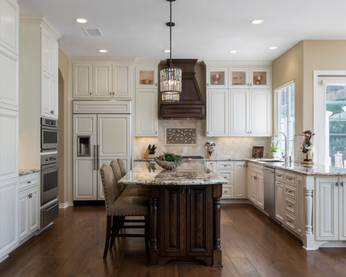 Traditional U Shaped Kitchen Idea In San Diego With Recessed Panel Cabinets,  White