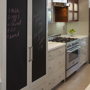 Inspiration for a contemporary kitchen in San Francisco with flat-panel cabinets, white cabinets and panelled appliances.
