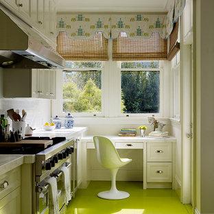 Inspiration för moderna kök, med rostfria vitvaror, målat trägolv och grönt golv