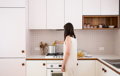 Pale Pink Carries Through This Kitchen, Right Down to the Grout