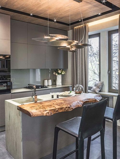 contemporary open concept kitchen ideas trendy galley concrete floor and gray floor open concept kitchen - Glass Sheet Kitchen Design