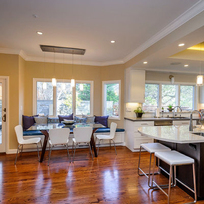 Eat-in kitchen - transitional eat-in kitchen idea in San Francisco with an undermount sink and white cabinets