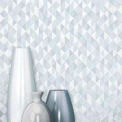 Prism - A perfect modern accompaniment to décor, this chic silver wallpaper is stylish and unique with a geometric print that glistens with a metallic finish.