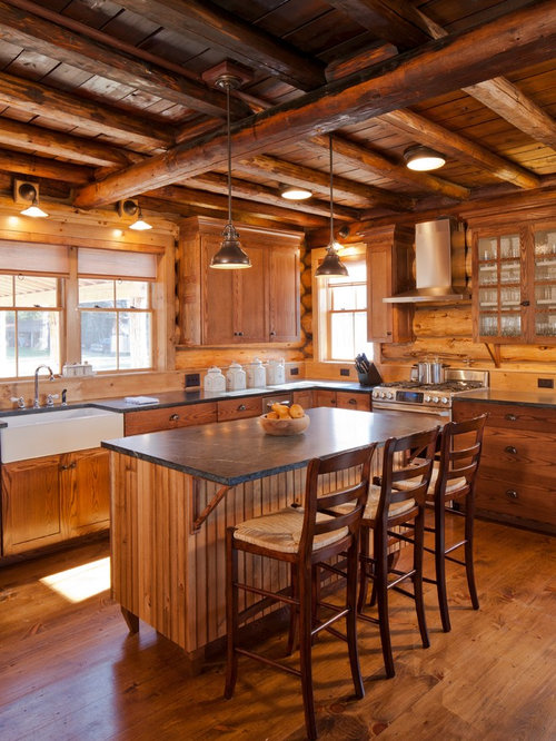 Rustic Kitchen Designs   Rustic Kitchen Idea In Portland Maine With A  Farmhouse Sink, Flat