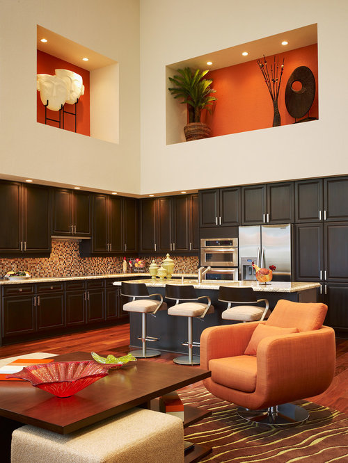 Trendy Open Concept Kitchen Photo In Miami With Dark Wood Cabinets