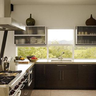 バンクーバーの中サイズのアジアンスタイルのおしゃれなキッチン (シングルシンク、フラットパネル扉のキャビネット、濃色木目調キャビネット、ライムストーンカウンター、ガラスまたは窓のキッチンパネル、シルバーの調理設備の、コンクリートの床、グレーの床) の写真