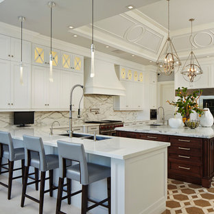 Transitional kitchen inspiration - Transitional kitchen photo in Miami with a double-bowl sink, shaker cabinets, white cabinets, multicolored backsplash and paneled appliances
