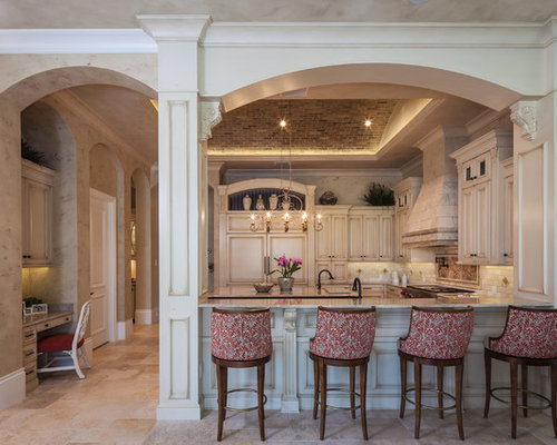 Inspiration For A Timeless U Shaped Kitchen Remodel In Miami With Raised Panel Cabinets