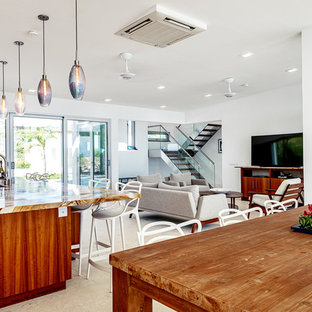 Mid-sized modern eat-in kitchen ideas - Eat-in kitchen - mid-sized modern eat-in kitchen idea in Miami with an undermount sink, flat-panel cabinets, medium tone wood cabinets, granite countertops, stainless steel appliances, an island and brown countertops