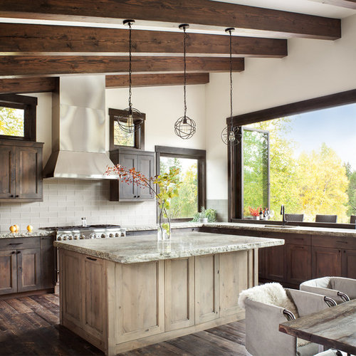 Rustic eat in kitchen photos example of a mountain style l shaped dark
