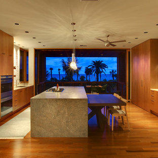 Modern kitchen ideas - Kitchen - modern galley kitchen idea in Tampa with flat-panel cabinets, medium tone wood cabinets, beige backsplash and paneled appliances