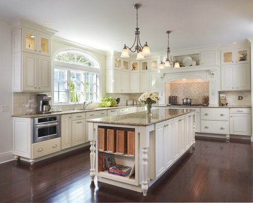 Example Of A Classic Kitchen Design In Providence With Mosaic Tile  Backsplash, Granite Countertops,