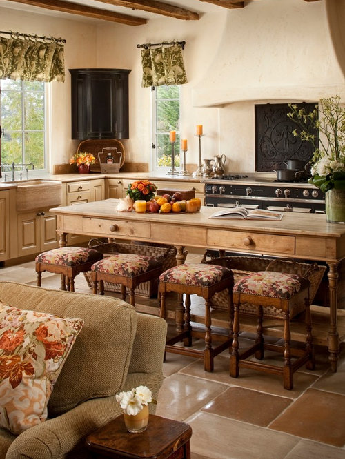 Large Tuscan U Shaped Ceramic Floor Open Concept Kitchen Photo In Other With  A Farmhouse