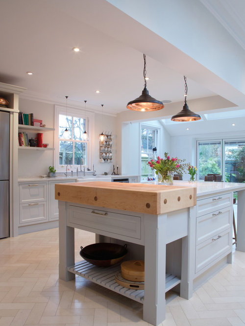 Ideas For A Contemporary Kitchen In London With Limestone Flooring