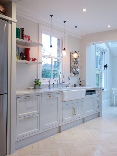 Inspiration For A Modern Limestone Floor Kitchen Remodel In London