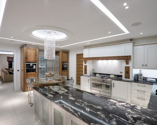 example of a trendy u shaped eat in kitchen design in london with an. beautiful ideas. Home Design Ideas
