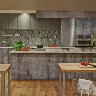 Large rustic eat-in kitchen appliance - Eat-in kitchen - large rustic single-wall bamboo floor eat-in kitchen idea in Chicago with a triple-bowl sink, flat-panel cabinets, distressed cabinets, quartz countertops, multicolored backsplash, porcelain backsplash, stainless steel appliances and an island