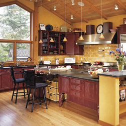 burgundy wall color kitchen design ideas pictures