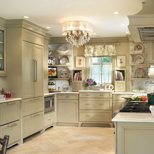 Design ideas for a shabby-chic style kitchen in New York with subway tile splashback.