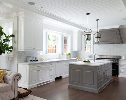 Inspiration For A Timeless U Shaped Dark Wood Floor Open Concept Kitchen  Remodel In San