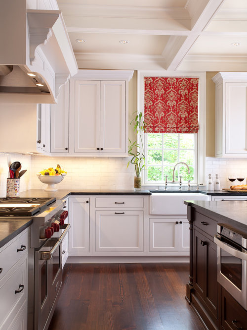 Traditional Kitchen Idea In Atlanta With A Farmhouse Sink, Beaded Inset  Cabinets, White Cabinets