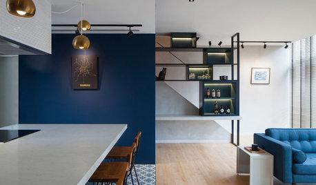 Houzz Сингапур: Современная квартира в синем и черном цвете