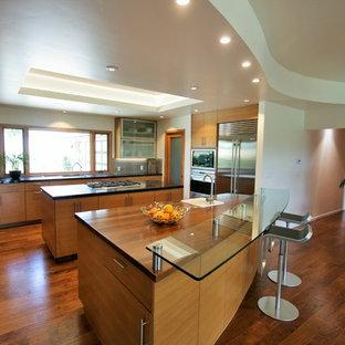 他の地域の大きいコンテンポラリースタイルのおしゃれなキッチン (アンダーカウンターシンク、フラットパネル扉のキャビネット、中間色木目調キャビネット、木材カウンター、緑のキッチンパネル、ガラス板のキッチンパネル、シルバーの調理設備の、無垢フローリング) の写真