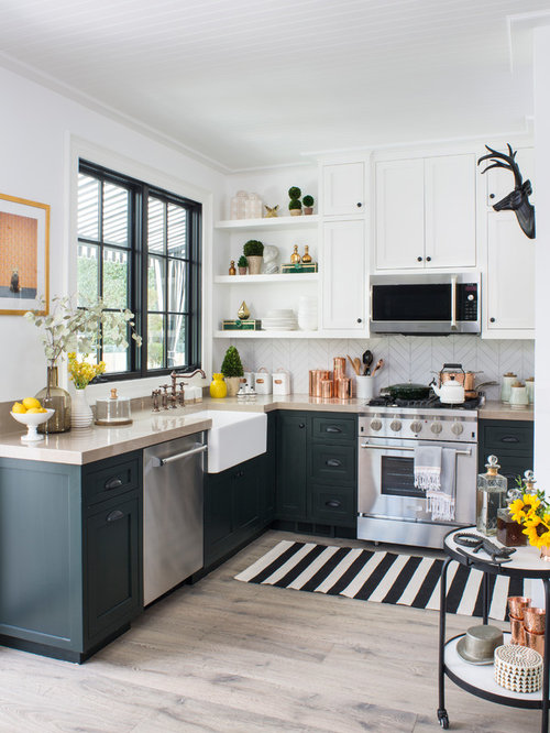 Gray And White Kitchen Designs pale gray small kitchen with farmhouse sink Mid Sized Transitional Kitchen Appliance Kitchen Mid Sized Transitional L Shaped