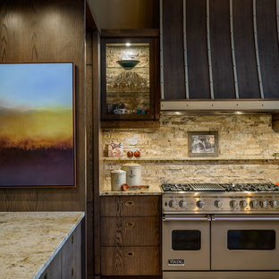 Example Of A Trendy Kitchen Design In Vancouver With Flat Panel Cabinets,  Dark Wood