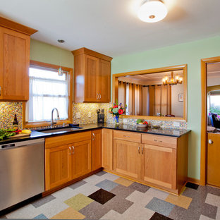 Enclosed Kitchen Traditional Multicolored Floor Idea In Portland With An Undermount Sink