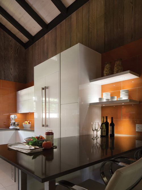 Black kitchen design ideas renovations amp photos with orange